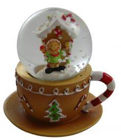 Gisela Graham Christmas Decoration - Gingerbread Teacup Snowglobe