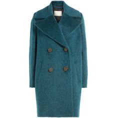 By Malene Birger Wool Coat (2.170 RON) ❤ liked on Polyvore featuring outerwear, coats, turquoise, oversized cocoon coat, blue wool coat, wool coat, long sleeve coat and oversized wool coat