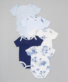 Navy, Sky & White Floral Bodysuit Set - Infant