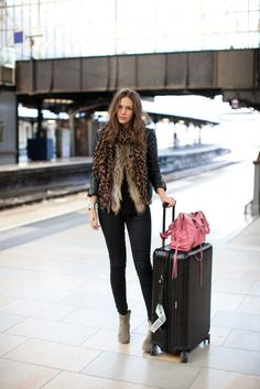 leather jacket, fur vest, leopard print scarf