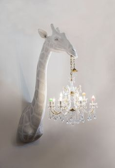 Yes please to this Giraffe holding a chandelier lampshade! The artist creates the handmade objects with traditional sculpture techniques adding an unexpected twist — classical chandeliers or their parts. Chandeliers, Chandelier Ideas, Kids Room Chandelier, Chandelier Lighting, Design Jobs, Design Design, House Design, Room Decor For Teen Girls, Girls Bedroom