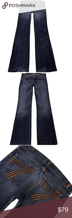"""7 For All Mankind """"Dojo"""" SZ 29 Inseam 33.5"""" (#373) Cute Pair Of 7 For All Mankind """"Dojo"""" Women's SZ 29 Flare Leg Med/Dark Distressed Blue Wash With Orange Stitched 7 Jeans. Has wear on bottom hem Style# U115219S-219S Cut# 712041 Measurements: Waist: 29"""" Hips: 36"""" Front rise: 8"""" Back rise: 13"""" Inseam: 33.5"""" 7 For All Mankind Jeans Flare & Wide Leg"""