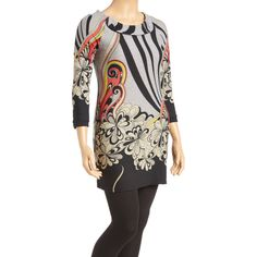 Aryeh Gray & Black Floral Border Tunic Sweater ($15) ❤ liked on Polyvore featuring plus size women's fashion, plus size clothing, plus size tops, plus size sweaters, tall tops, long tops, patterned tops, long gray sweater and acrylic sweater
