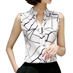EFINNY Summer Women Tops Casual Sleeveless V-Neck Fashion Women Blouse Shirt Chiffon Print Blouses Ladies Blusas Casual Tops For Women, Blouses For Women, Origin Clothing, Fashion Tips For Women, Womens Fashion, Fashion Top, Style Fashion, Fitness Video, Summer Blouses