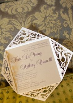 Laser Cut Gold and Plum Invitations