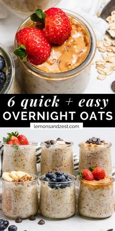 If you are looking for the easiest breakfast that only involves 5 minutes of prep, overnight oats are for you! These 6 simple recipes are quick and easy to whip up and full of flavor. Easily made dairy free and gluten free and you can meal prep a week at a time!! #overnightoats #overnightoatrecipes #easyovernightoats #oatmeal #breakfast Easy Overnight Oats, Dairy Free Overnight Oats, Blueberry Overnight Oats, Oatmeal Recipes, Simple Recipes, Simple Breakfast Recipes, Sweet Breakfast, Meal Prep For Breakfast, Quick Easy Breakfast