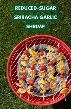 Summer begins with these Sriracha Garlic Shrimp Skewers made with 47% less sugar using Truvia Nectar. They're a great grilling or barbecue option for Memorial Day or any summer holiday. Ingredients include Truvia Nectar, sriracha, olive oil, garlic, salt, pepper, shrimp and chives.