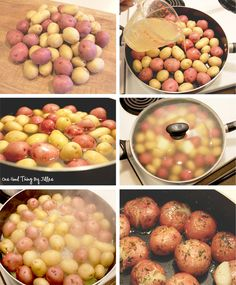 """Stovetop potatoes: Cook Potatoes in broth & choice of fat inside a covered deep skillet for 5-10 min until tender. remove lid until liquid has evaporated. Now """"pop"""" each potato using a ladle or large spoon, creating a small crack in each, but do not smash. Allow the potatoes to brown on each side, and re-season"""