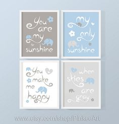 baby boy you are my sunshine print, blue gray sunshine baby decor, baby shower gift with elephant, baby quotes song, custom nursery wall art by PinkeeArt, $29.00