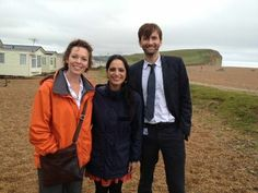 David and Olivia behind the scenes of Broadchurch