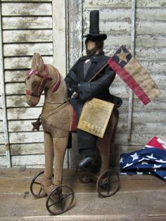 Olde Abe Lincoln on Horse~ by Folk Artist Sue Corlett. MEMORIAL DAY update this week. Follow me on Facebook for details!