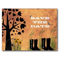 SAVE THE DATE WESTERN THEME.BOOTS & WAGON WHEEL POSTCARD  Can be purchased by clicking on card and then click website.