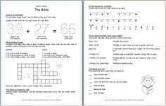 This worksheet gives an overview of the Bible as many books by many authors. It also covers the general purposes of the Bible.