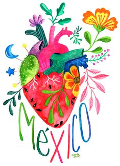 Corazon Mexicano T-shirt by Sofia Ilustradora - Black - LARGE - Mens Fitted Tee Art Aquarelle, Watercolor Art, Mexican Paintings, Mexico Art, Desenho Tattoo, Mexican Folk Art, Heart Art, Diy Art, Art Inspo