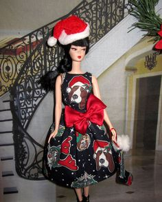 OOAK Dress Hat Stocking w. Happy Holidays Dog & Cat prints for silkstone Barbie Ugly Sweater Day, Ugly Christmas Sweater, After Christmas Sales, Christmas Time, New Dolls, Barbie Dolls, Happy Holidays Barbie, Barbie Wardrobe, Barbie Basics
