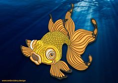 Swimming golldfish embroidery design  downloadable by EmbroSoft