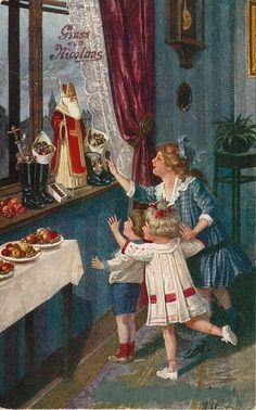 "Antique German Christmas Postcard.. ""Gruss vom Nicolaus"" = ""Greetings from St. Nicholas """