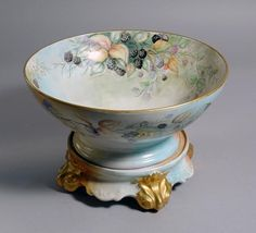 T. Limoges Porcelain Punch Bowl and Stand