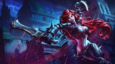 Game Sexy Girl Red Hair Scar Katarina League of Legends Sword Blade 4096×2304