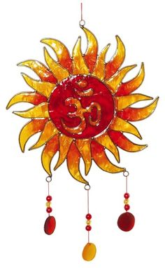 Attrape Soleil : Grand Soleil & Om - Rouge & Jaune Avec Perles Suncatchers, Orange, Brooch, Jewelry, Afin, Motifs, Tattoo, Feng Shui Decorating, Sun Catcher