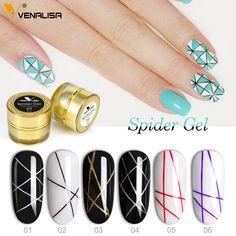 Venalisa™ Spider Effect Nail Painting Gel Polish Uv Gel Nails, Gel Nail Polish, 3d Nails, Camouflage Nails, Gel Nail Art Designs, Jelly Nails, Creative Nails, Creative Art, Nail Brushes