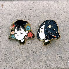 """1,251 Likes, 15 Comments - Watercolor Illustrator ⭐️ (@kazel_) on Instagram: """"My first ever enamel pin """"Serene"""" and """"Reverie"""" I try to use my favourite painting subject floral…"""""""