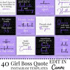40 Purple Instagram Templates Girl Boss Quotes Quote Post | Etsy Shall And Will, Social Media Sizes, Motivational Quotes For Girls, Girl Boss Quotes, Instagram Templates, Purple, Instagram Posts, Etsy, Viola