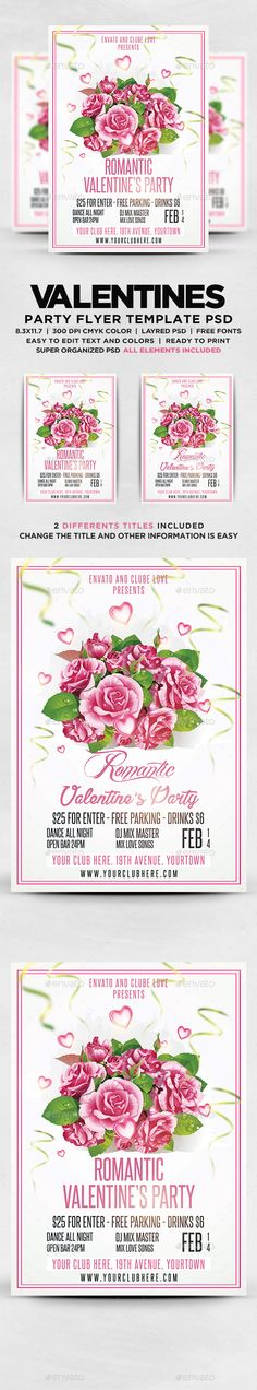 Valentines Day Party Flyer  Valentines Valentines Day Party And
