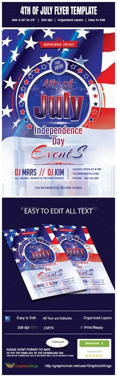 Buy of July Flyer Template by kreativenet on GraphicRiver. All you need to do is add your event related info. I've made this file very easy for you to edit. This file is sold e. Flyer And Poster Design, Information Graphics, Party Flyer, Independence Day, Flyer Template, Fourth Of July, Memorial Day, American Flag, Palm