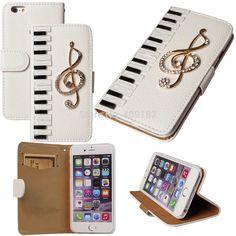Capa de couro, diy luxo 3D chaves do Piano Musical Bling Crystal Case para iPhone 4 5 5S 6 6 Plus para Galaxy S3 / 4 / 5 / 6 nota 2 3 4 Mini