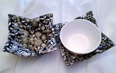 Microwave Bowl Cozy Black Taupe White Floral Flowers Hot Pad Trivet Textile Linens Kitchen  Pot Holder Hot Pad by CaliSistersCreate on Etsy