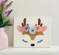 Deer Canvas Art - Deer Wall Art - Woodland Deer - Woodland Nursery Decor - Deer Nursery Decor Girl -