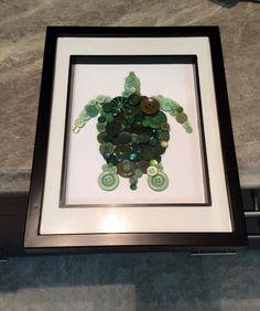 Turtle Button Art 8x10 Unframed