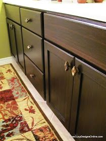 Lucy Designs: DIY How To Use Gel Stain   Gel Stained Master Bath Cabinet  Makeover
