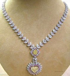 Very stunning fancy necklace, white, pink and yellow diamonds. Bold Jewelry, Royal Jewelry, Statement Jewelry, Diamond Jewelry, Fine Jewelry, Jewelry Design, Jewelery, Jewelry Necklaces, Colored Diamonds