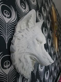 Faux Taxidermy Large Wolf Head Wall Decor wall hanging office