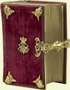 Queen Victoria's mother gave her this prayer book as a present on her wedding day in 1840. Inside the cover, the Duchess of Kent wrote: 'Given To my beloved Victoria on her Wedding Day by Her most affectionate Mother.'