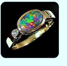 Rare red, green, blue black opal from Lightning Ridge. Opal Jewelry, Jewelry Rings, Jewlery, Fine Jewelry, Opal Gemstone, Gemstone Rings, Black Opal Ring, Lightning Ridge, Perfect Gift For Her