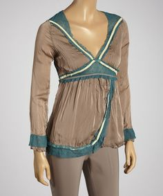 Take a look at the Taupe Crinkle V-Neck Top on #zulily today!