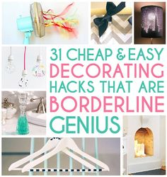 31 Home Decor Hacks That Are Borderline Genius...totally doing the Command hook/curtain rod thing!