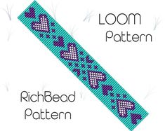 Beaded loom bracelet pattern, PDF seed bead bracelet, DIY beading, Instant download, Bookmark heart