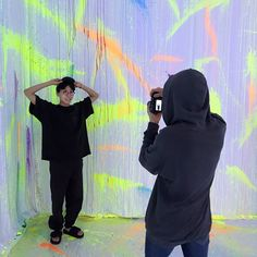 "BTS's J - hope (Hoseok) & Jungkook. Jungkook taking a picture of J - hope in their exhibition ""Five, Always Namjoon, Taehyung, Seokjin, Jung Hoseok, J Hope Selca, Bts J Hope, Jimin, Busan, Rapper"