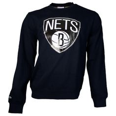 Mitchell & Ness Sweater Black & White / Brooklyn Nets #fashion #sweater #crewneck #nba #black #brooklyn #nets http://www.rudestylz.de/mitchell-sweater-nets-black.htm