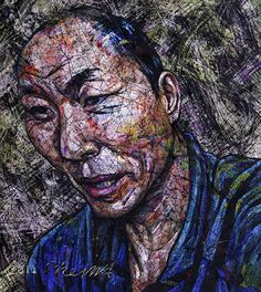 YiPyung Kim 김이평 // 'Portrait of Park Joo Sung' '박주성의 초상' // 87x95cm, Reactive dye, Acid dye, Silk, 2014
