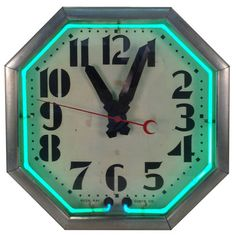 "Art Deco, ""Neon Ray"" Octogon Clock ~ 1936