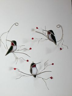 Bright green with red throat Ruby Throated Hummingbird trio set of stained glass suncatchers on three dimentional wire branches.