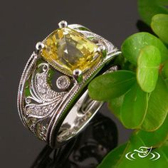 Golden Yellow #Sapphire in a pieced-diamond setting. #GreenLakeMade #EnagementRing
