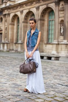 maxi skirt + tank + denim vest
