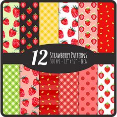 Strawberry Patterns Digital Scrapbook Paper by DigiDivaGraphics