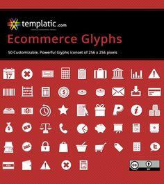 Ecommerce Glyphs   Free Icon Set of 50 Glyphs